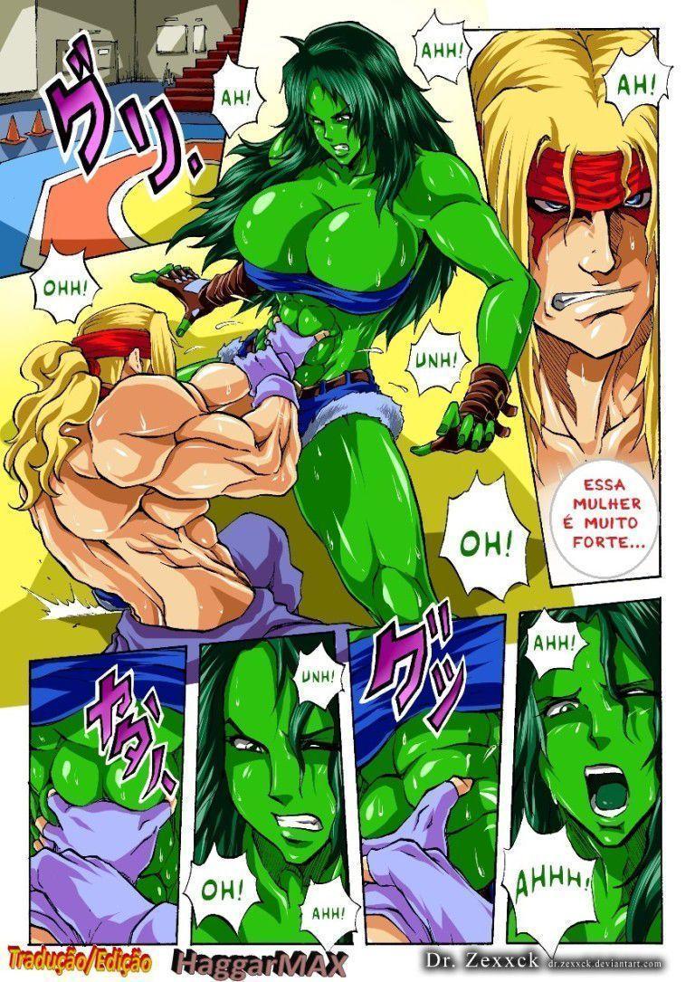 Quadrinho pornô She Hulk gostosa vs Alex